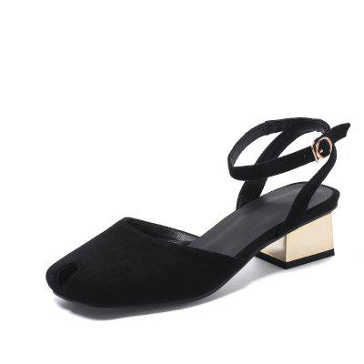 Square-Headed Buckle Slipper with Medium and Thick Heels