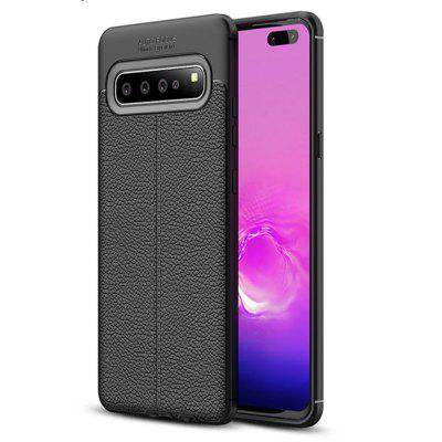 Litchi Grain Shockproof Back Cover Soft TPU Case for Samsung Galaxy S10 5G
