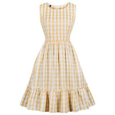 Round Collar Grid Collect Waist Pocket Sweet Women Dress