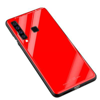 Luxury Hard Tempered Glass Silicone Frame Back Cover for Samsung Galaxy A9 2018