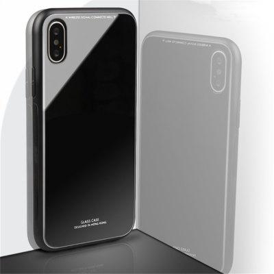 Luxury Hard Tempered Glass Silicone Frame Back Cover for iPhone X