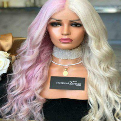 Rose Net Wig Bleach Dyed Two-Color Female Half Powder Half White Wave Long Hair
