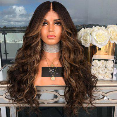 Mid-Stained Dyeing Gradient Long Curly Hair Big Wave Wig