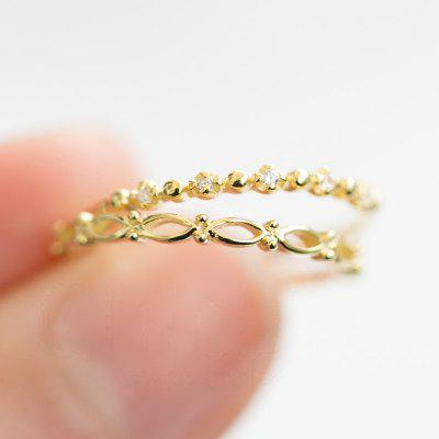 Women 18K Yellow Gold Thin Ring Small Cubic Zircon Crystal Ring Set