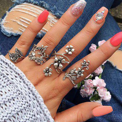 Antique Silver Color With Flower Rings Set 4pcs