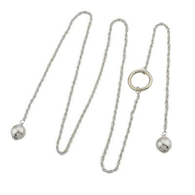 Silver Color Long Chain With Simulated-pearl Chain Necklace