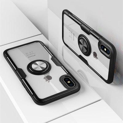 360 Degree Rotation Ring Magnetic Kickstand Clear Protective Case for iPhone XS/X