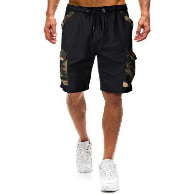 Men Fashion Camouflage Stitching Tether Belt Shorts