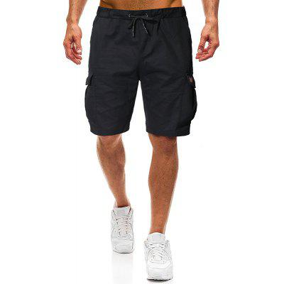 Men Fashion Solid Color Leather Tether Belt Casual Shorts