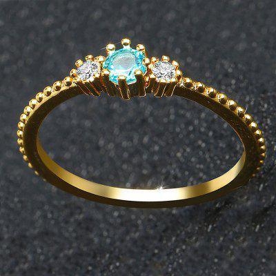 Women 18K Gold and Silver Natural Aquamarine Sample Engagement Ring