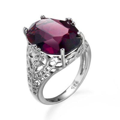 Stylish Simple Hollowed-out Purple Opal Ring