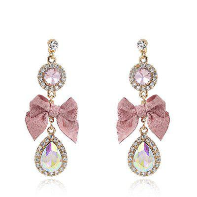 S925 Silver Needle Fashion Pink Small Fresh Bow Drop Earrings