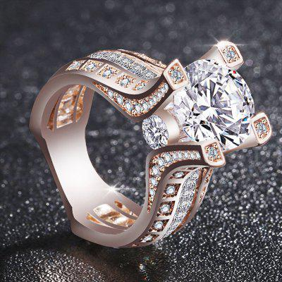 Femmes nobles de la mode femmes 18K Rose Gold Filled White Diamond Wedding Jewelry Ring