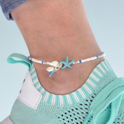 White Beads Chain With Starfish Anklets
