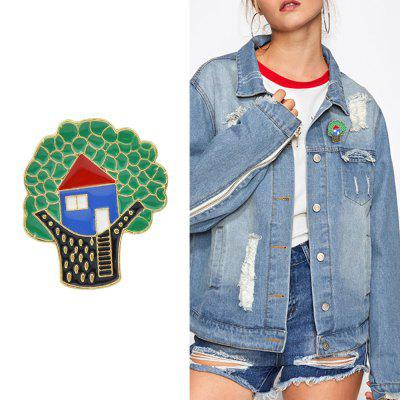 Colorful Enamel With Tree House Brooch