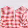 V-Neck Lapel Have Pockets Bowknot Collect Waist Plaid Dress - RED