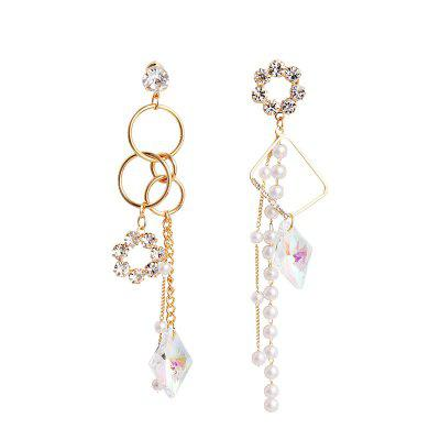 Asymmetric Colorful Crystal Pearl Tassel Circle Personality Earrings Female