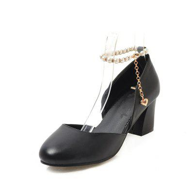 Round Toe Pure Color Pearl Chain Chunky elegant Lady Sandals (Gearbest) Garden Grove Sale of goods