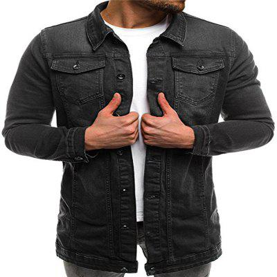 Casual Slim Mid-Length Washed Men Denim Jacket
