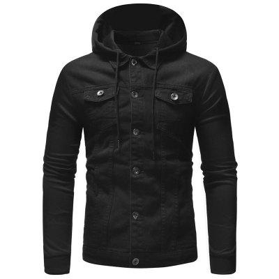 Men Casual Hooded Denim Jacket Stitching