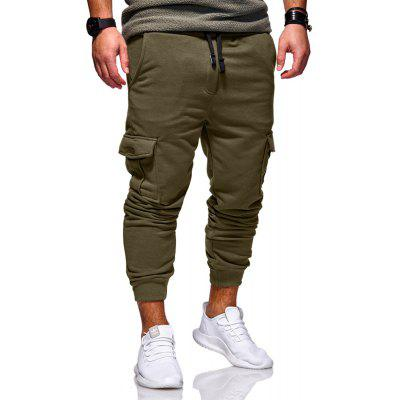 Three-Dimensional Cutting Stick Pockets Men's Casual Solid Color Sweatpants