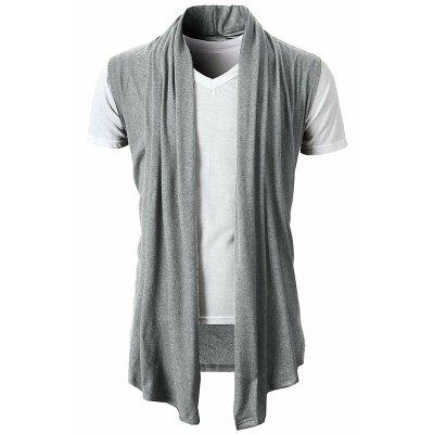 Personalized Solid Color Simple Versatile Men Casual Sleeveless Cardigan