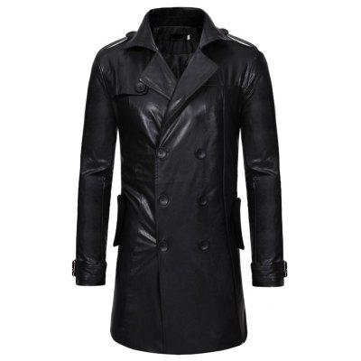 Double-Breasted Large Lapel Mencasual Slim Long Leather Trench Coat