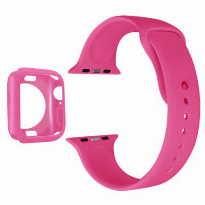 2 in 1 Silicone Watch Band Strap With Case for Apple Watch Series 4 / 40mm 44mm