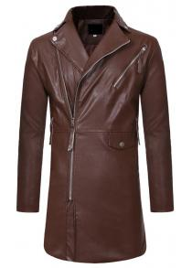 c5922c669 Diagonal Zipper Large Lapel Men Casual Slim Mid-Length Leather Trench Coat