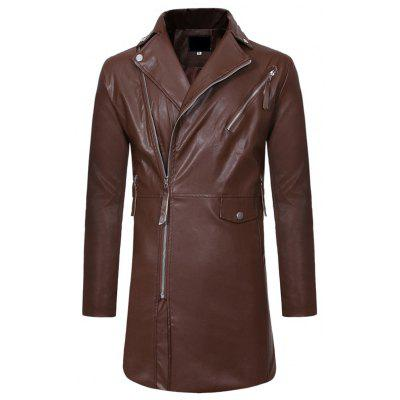 Diagonal Zipper Large Lapel Men Casual Slim Mid-Length Leather Trench Coat