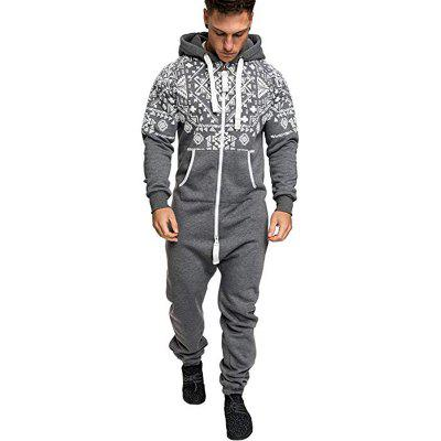 Ethnic Style Print Men Casual Slim Body Zipper Hooded Sweater