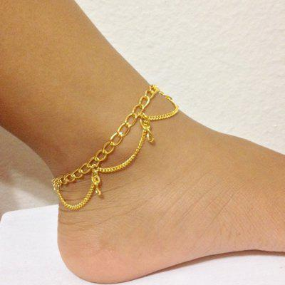 Gold Silver Color Chain With Geometric Anklets 1PC