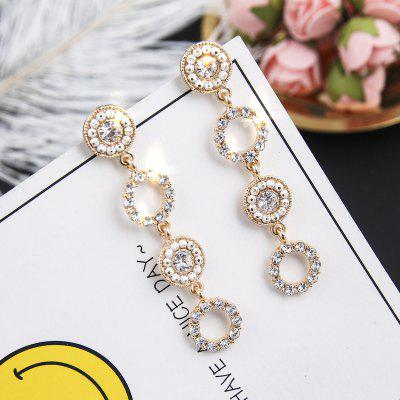 Fashion Flash Drill Round Long Temperament Circle 925 Silver Needle Earrings