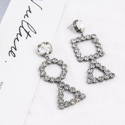 Individualized Openwork Crystal Diamond Round Triangle Asymmetrical Earrings