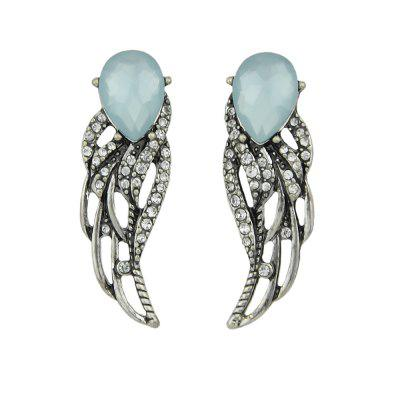 Antique Silver Color with Blue Crystal Rhinestone Wing Stud Earring