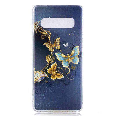 Gold Butterfly Painting TPU Phone Case for Samsung Galaxy S10 Plus