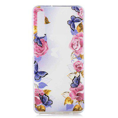 Butterfly Rose Painting TPU Phone Case for Samsung Galaxy A7 2018 / A750
