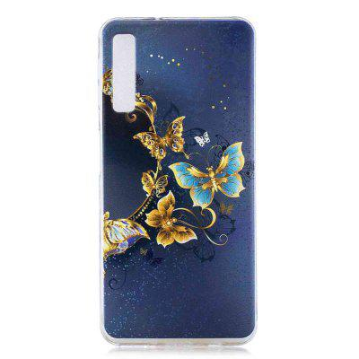 Gold Butterfly Painting TPU Phone Case for Samsung Galaxy A7 2018 / A750