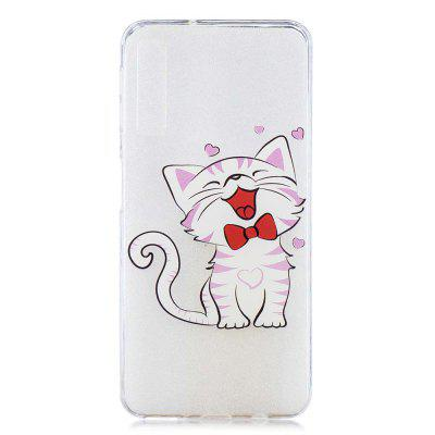 Laughing Cat Painting TPU Phone Case for Samsung Galaxy A7 2018 / A750