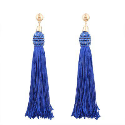 Fashion Exaggerated Hand-Knit Ball Long Tassel Earrings