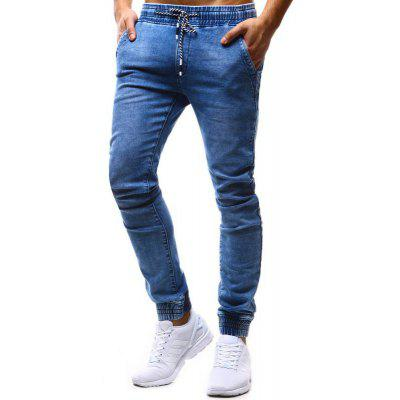 Klassische lose Tether Elastic Men Casual Füße Jeans