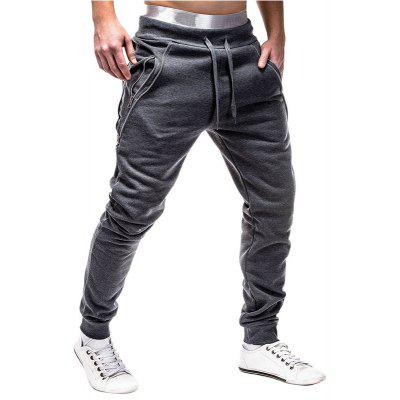 Individual Zipper Decoration Men Casual Loose Trousers