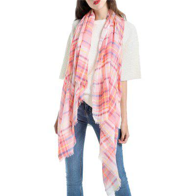 SALYBABY Solid Color Geometric Plaid Couple Scarf for Autumn