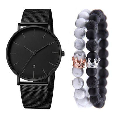 Moda Masculina de Aço Inoxidável Quartz Dress Watch Set