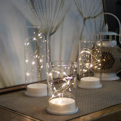 LED-verlichting String Glass Kaarshouder Home Wedding Party Decor 3PCS