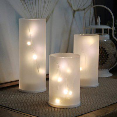 Battery LED Lights String Glass Candle Holder Set Home Wedding Party Decor 3PCS