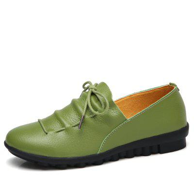 Fashion Lace Up Genuine Leather TPR Sole Casual Flats Shoes for Women (Gearbest) Waterbury Sell stuff