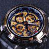 WINNER Men Stainless Steel Skeleton Mechanical Leather Automatic Watch - MULTI-A