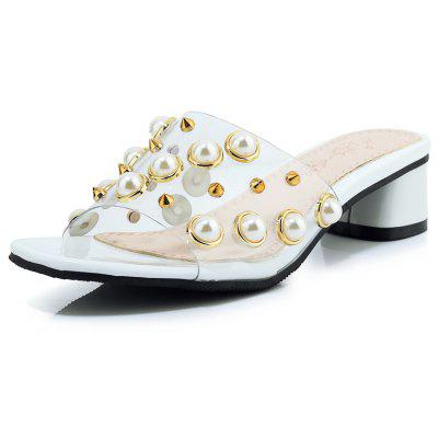 Pearl Rivet Fishmouth Dew Heel Slippers with Medium and Thick Heels
