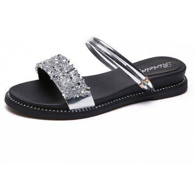 Plane Sequins Female Slippers 916